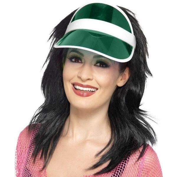 80S Sun Visor Adult Green - 1980S Mad Fancy Dress