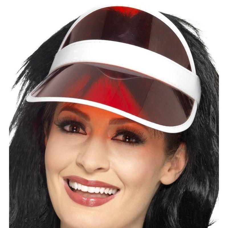80S Sun Visor Adult Red - 1980S Mad Fancy Dress