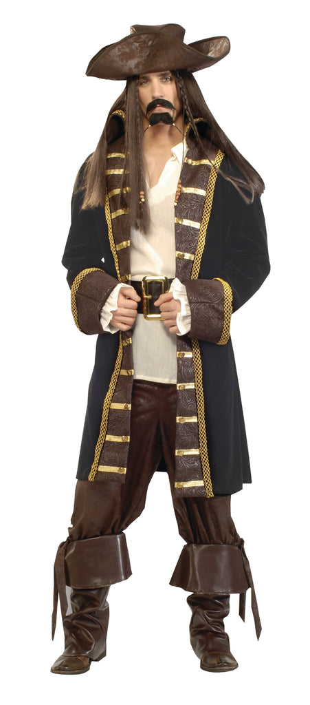 High Seas Pirate Deluxe Large Size Adult Fancy Dress Costume Mens Black Brown Gold Fancy Dress portsmouth party Halloween
