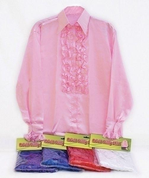 Satin Shirt & Ruffles White Adult Fancy Dress Costume Mens One Size