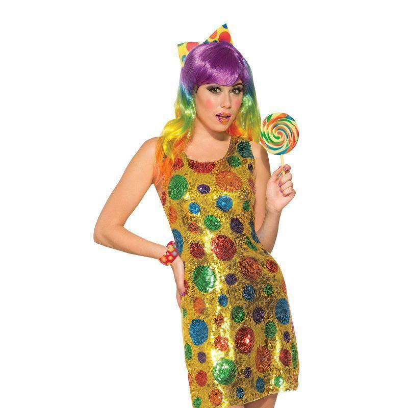 Clown Polka Dot Sequin Dress M/l |Adult Costumes| Uk Size 10 14 - Generic Ladies Costumes Mad Fancy Dress