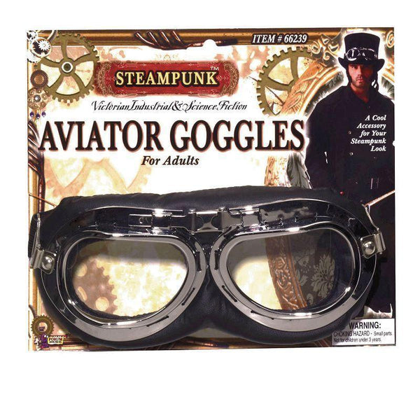 Mens Steampunk / Star Wars Aviator Goggles |Costume Accesories| Male One Size Halloween Costume - Costume Accessories Mad Fancy Dress