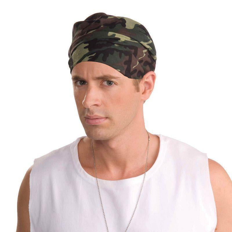 Camouflage Bandana |Costume Accessories| Unisex One Size - Costume Accessories Mad Fancy Dress