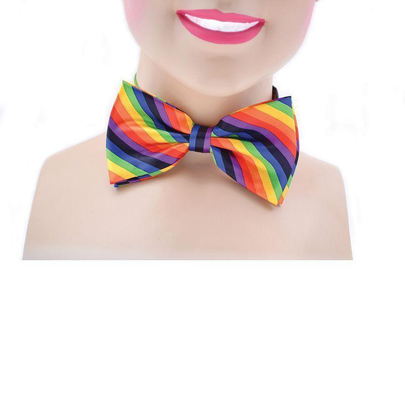 Bow Tie Rainbow Coloured |Costume Accessories| Unisex One Size - Costume Accessories Mad Fancy Dress