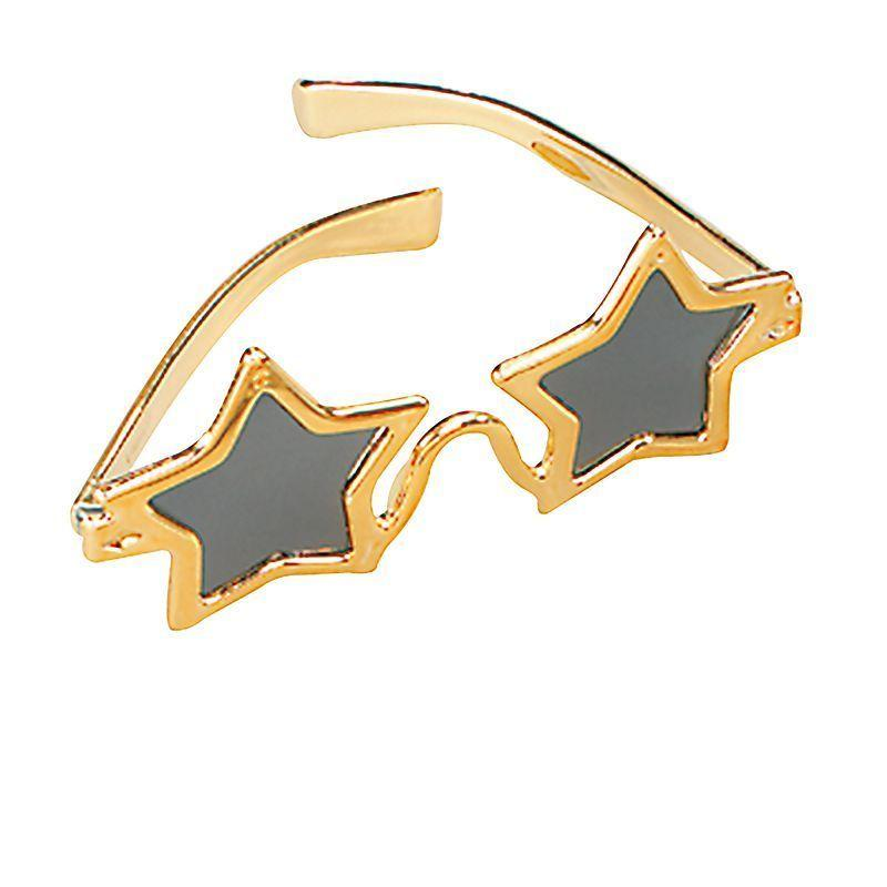 Star Glasses Gold |Costume Accessories| Unisex One Size - Costume Accessories Mad Fancy Dress