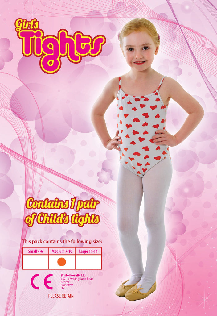 Childs Tights White 7 10 Med Accessories 7 years Medium