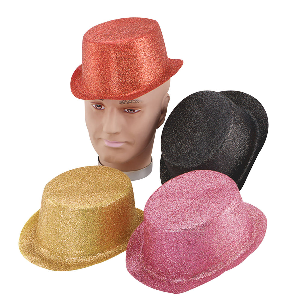 Glitter Cerise Toppers Plastic Hats One Size