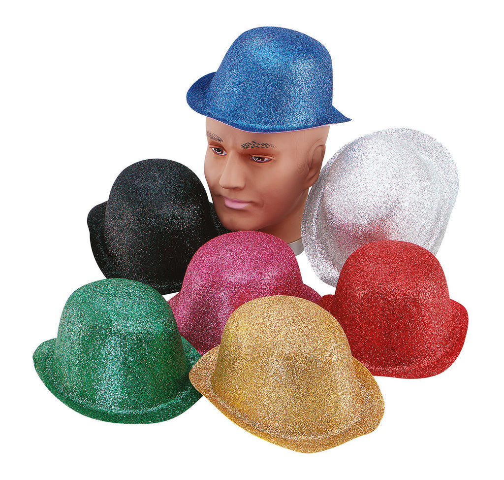 Glitter Silver Plastic Bowler Hats One Size