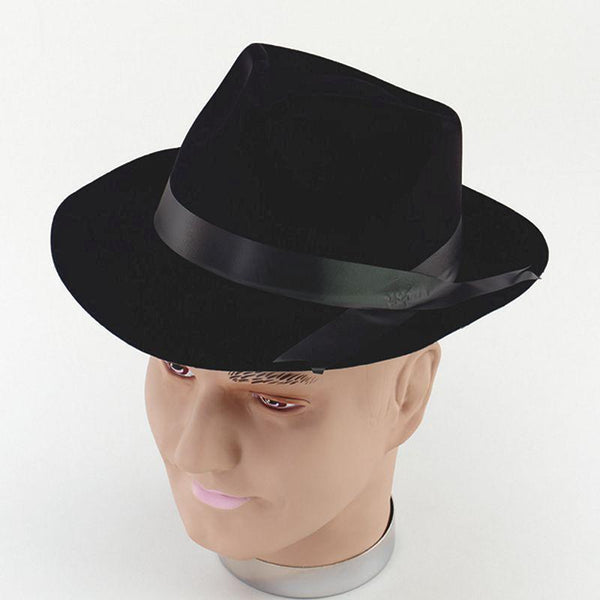 Mens Gangster Hat Black Flock |Hats| Male One Size Halloween Costume - Hats Mad Fancy Dress
