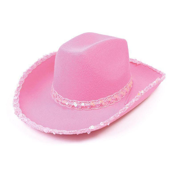 Womens Cowboy Pink Felt Hat/sequins |Hats| Female One Size Halloween Costume - Hats Mad Fancy Dress