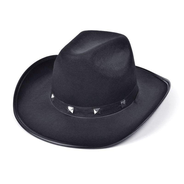 Mens Black Felt Cowboy Studded Hat |Hats| Male One Size Halloween Costume - Hats Mad Fancy Dress