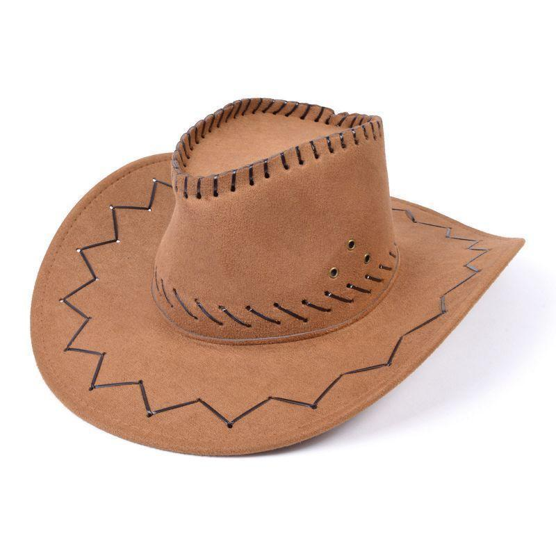 Cowboy Hat Leather Stitched |Hats| Unisex One Size - Hats Mad Fancy Dress