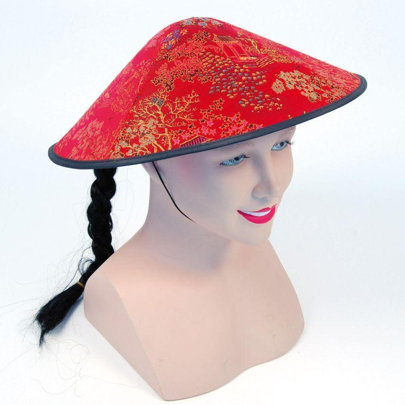 Chinese Coolie Red Fabric Hat + Plait |Hats| Unisex One Size - Hats Mad Fancy Dress