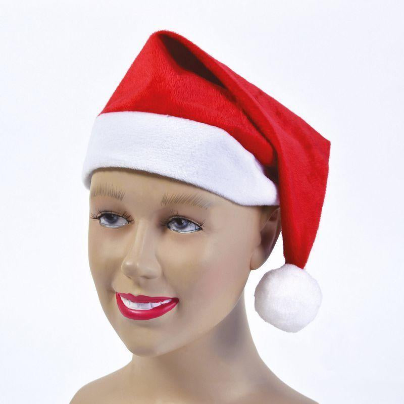 Santa Hat Velour |Hats| Unisex One Size - Hats Mad Fancy Dress