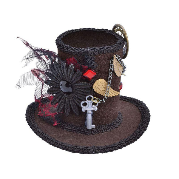 Womens Steampunk / Star Wars Tall Top Hat |Mini| |Hats| Female One Size Halloween Costume - Hats Mad Fancy Dress