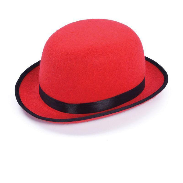 Bowler Hat Red| Hats| Unisex One Size - Hats Mad Fancy Dress