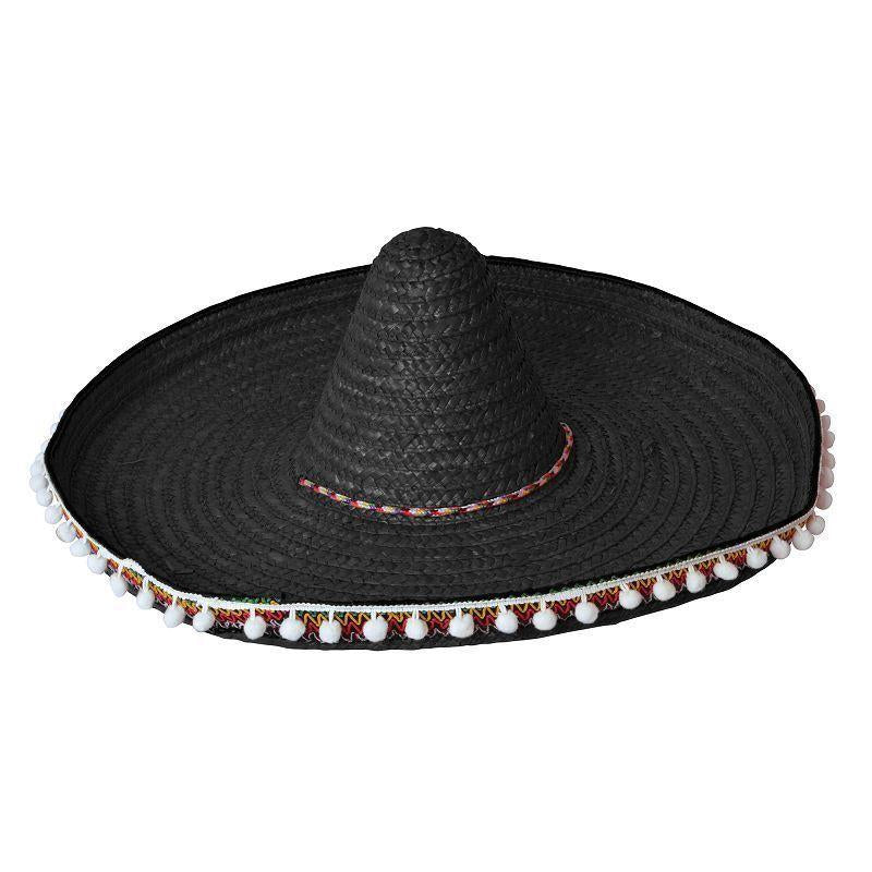 Straw Sombrero 60Cm Black Black Hats Unisex One Size - Hats Mad Fancy Dress