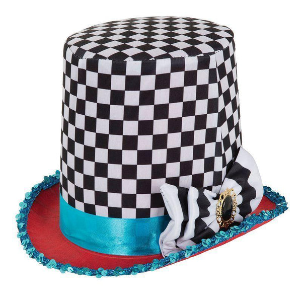Stovepipe Mad Hatter Chequered Hat |Hats| Male One Size - Hats Mad Fancy Dress