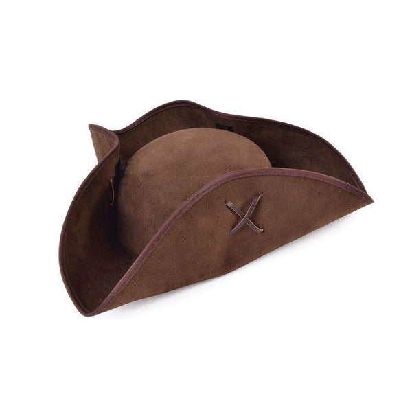 Pirate Tricorn Brown Suede Fabric |Hats| Unisex One Size - Hats Mad Fancy Dress
