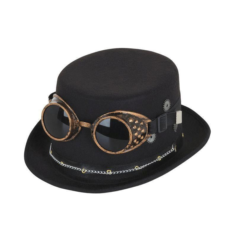 Steampunk Top Hat Black W/ Goggles & Gears |Hats| One Size Fits Most - Hats Mad Fancy Dress