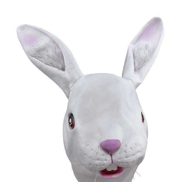 White Rabbit Rubber Overhead Mask |Rubber Masks| Unisex One Size - Masks Mad Fancy Dress