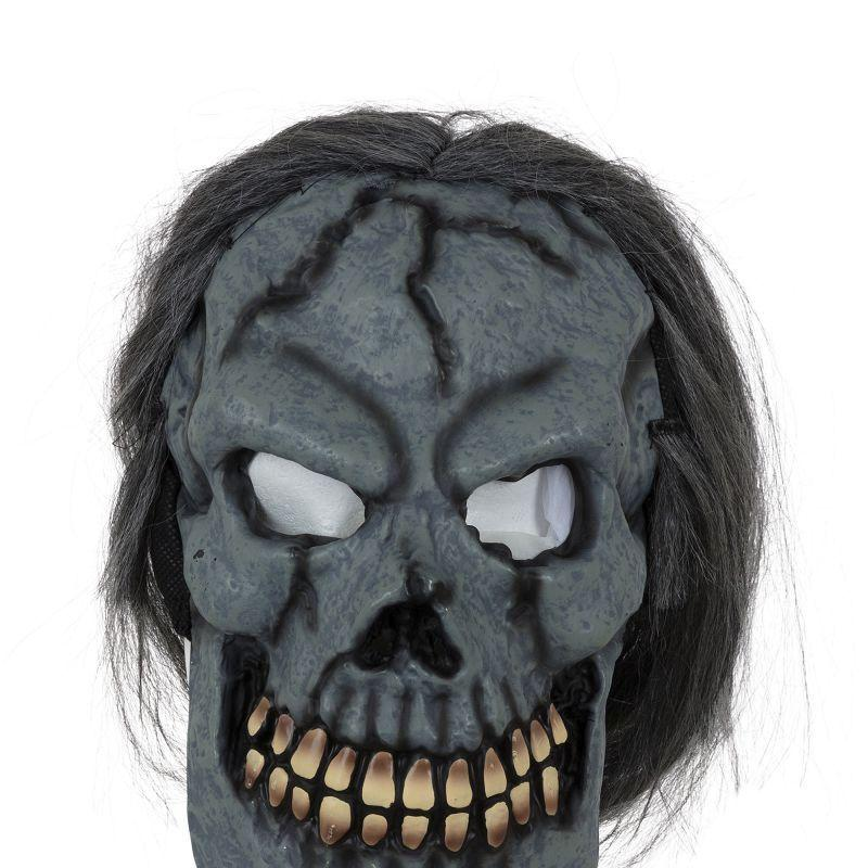 Skull Mask W/hair |Rubber Masks| Unisex One Size Fits Most - Rubber Masks Mad Fancy Dress
