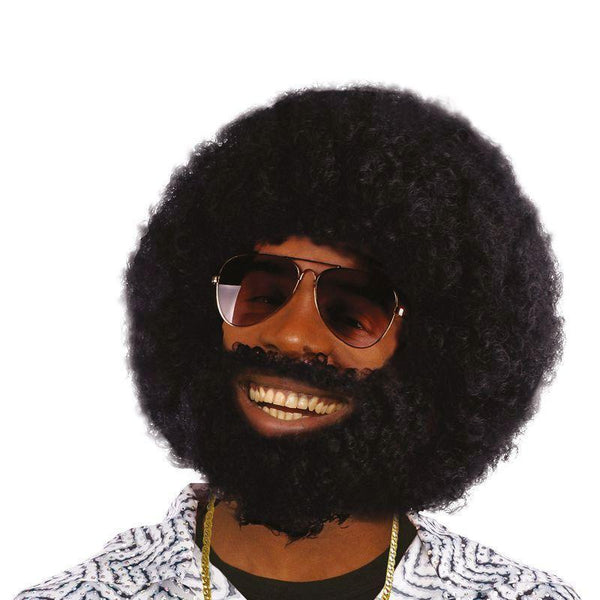 Mens Afro + Facial Hair |Wigs| Male One Size Halloween Costume - Mens Wigs Mad Fancy Dress