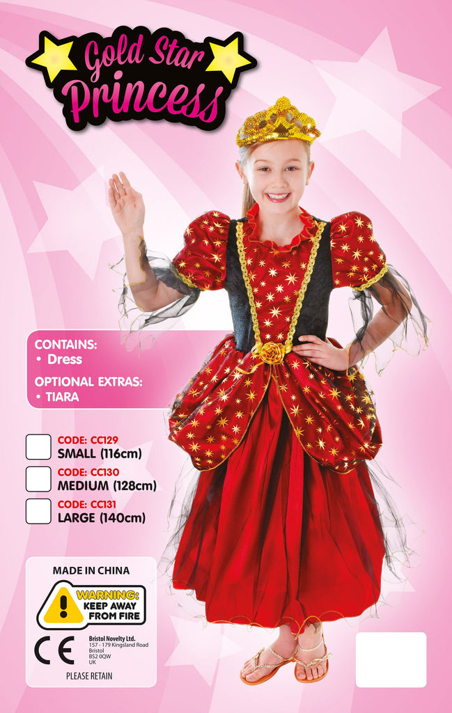 Gold Star Princess Dress Large Childrens Costumes Girls red black