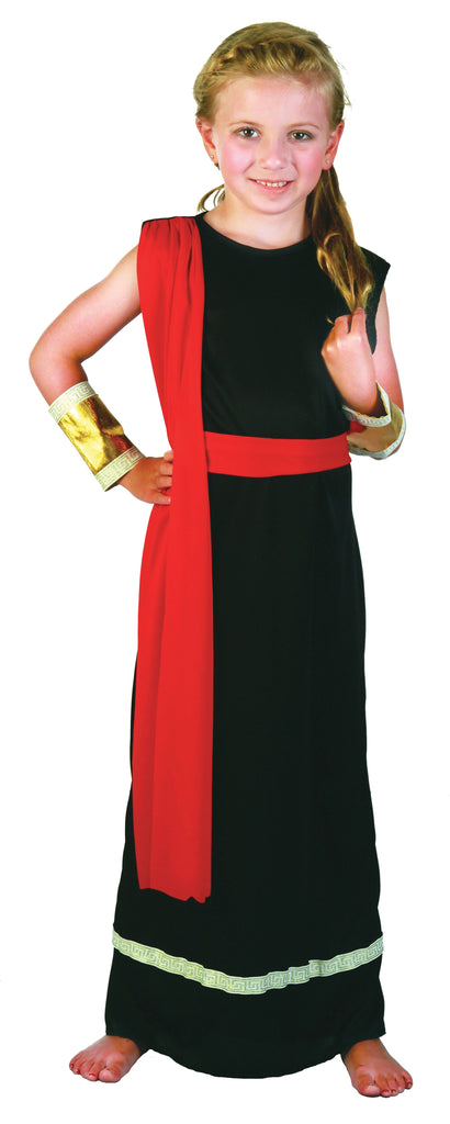 Roman Girl Black Small Childrens Fancy Dress Costumes Girls black red