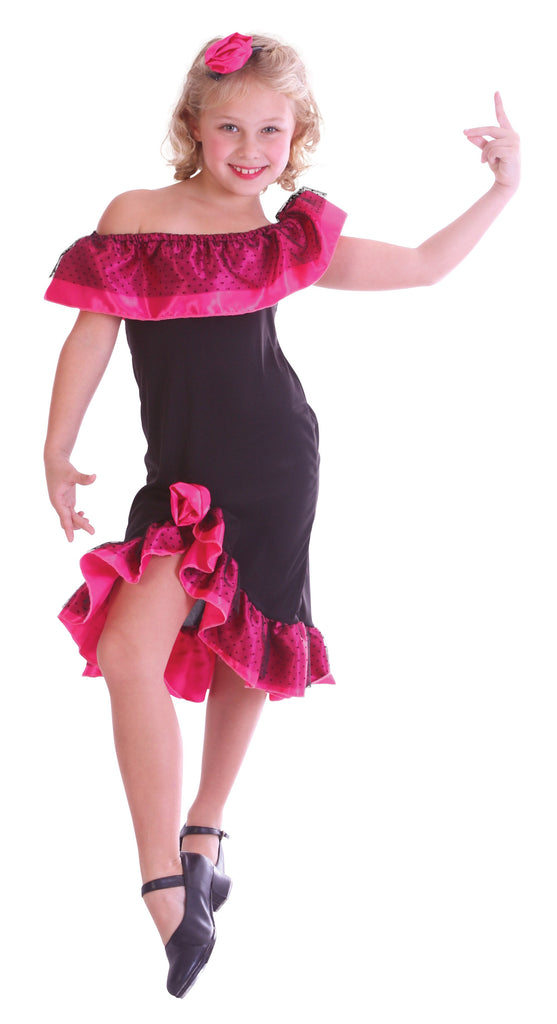 Flamenco Girl Medium Childrens Fancy Dress Costumes Girls black pink