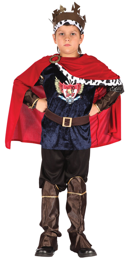Fantasy King (S) Pack Contents : Shirt, Cape, Trousers, Headpiece, Cuffs, Belt Boot Tops Male Kids To fit child of height 110cm 122cm Colour : Red Blue