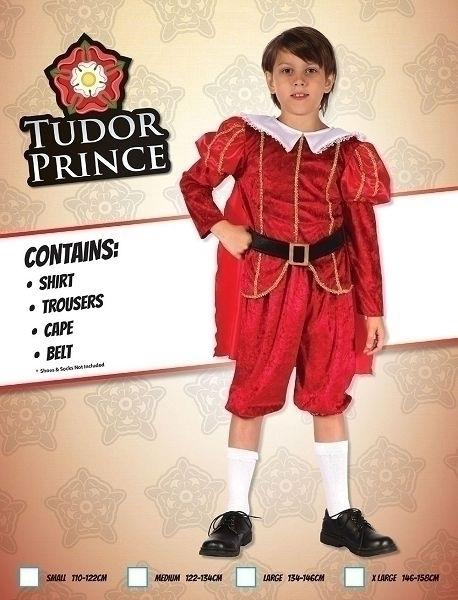 Tudor Prince (M) Pack Contents : Shirt, Trousers, Cape, Belt Male Kids To fit child of height 122cm 134cm Colour : Red