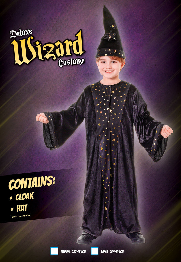 Wizard Deluxe (L) Pack Contents : Cloak Hat Male Kids To fit child of height 134cm 146cm Colour : Black