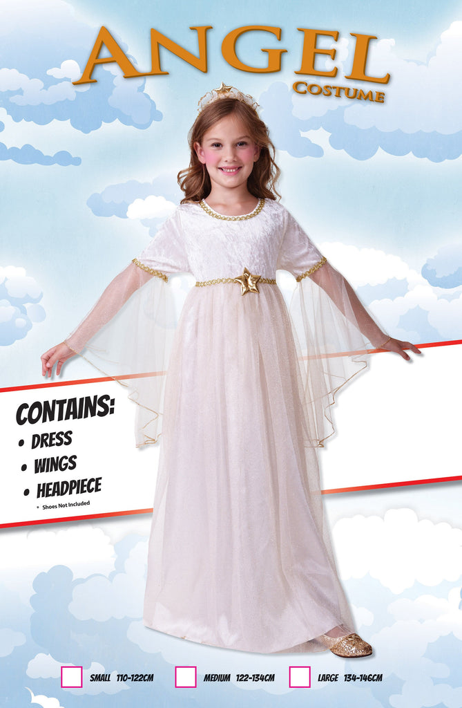 Angel Long Sleeves (M) Pack Contents : Dress, Wings, Headpiece Female Kids To fit child of height 122cm 134cm Colour : White