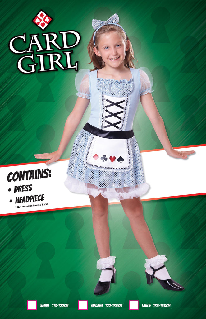 Card Girl (M) Pack Contents : Dress, Headpiece Female Kids To fit child of height 122cm 134cm Colour : Blue