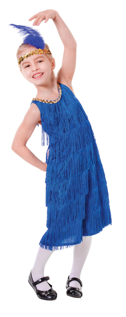 Flapper Dress Blue (S) Pack Contents : Dress, Feather Headband Female Kids To fit child of height 110cm 122cm Colour : Blue