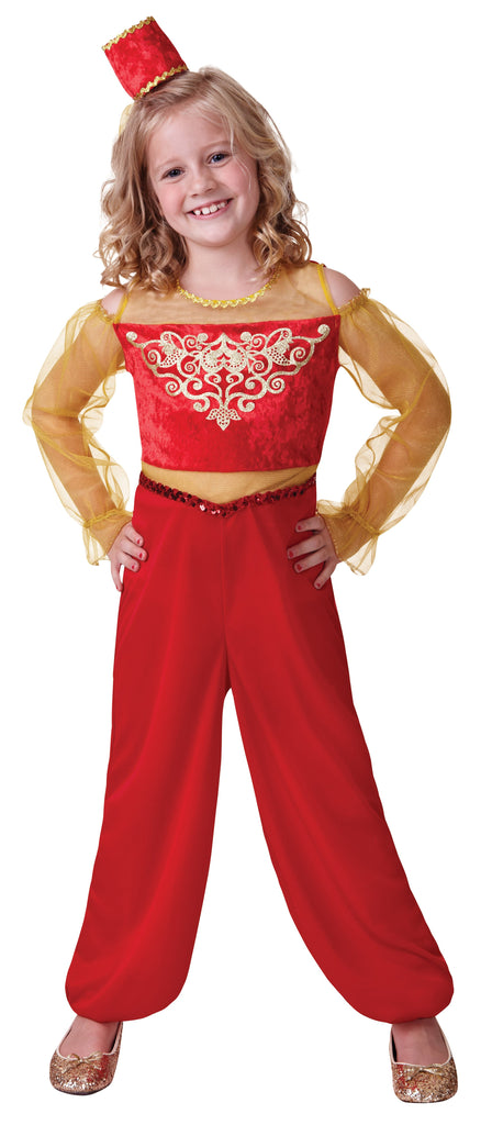Princess Aladdin (L) Pack Contents : Jumpsuit, Headpiece (attached veil) Female Kids To fit child of height 134cm 146cm Colour : Red