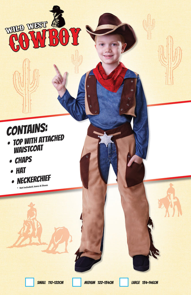 Cowboy Wild West (M) Pack Contents : Top (attached waistcoat), Chaps, Hat, Neckerchief Male Kids To fit child of height 122cm 134cm Colour : Blue