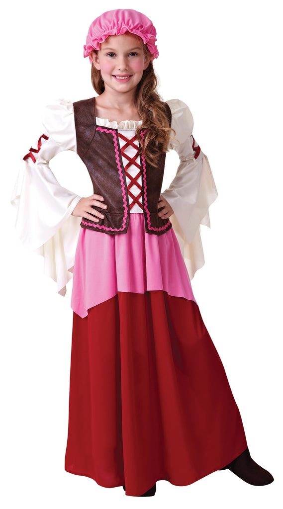 Little Tavern Girl (S) Pack Contents : Dress (attached waistcoat), Mop Hat Female Kids To fit child of height 110cm 122cm Colour : White Pink