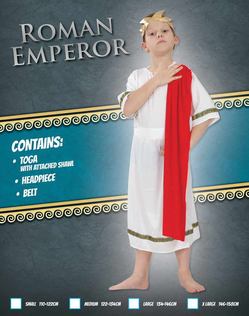 Roman Emperor (XL) Pack Contents : Toga with Shawl Belt Headpiece Male Kids To fit child of height 146cm 159cm Colour : White Red Fancy Dress portsmouth party Halloween
