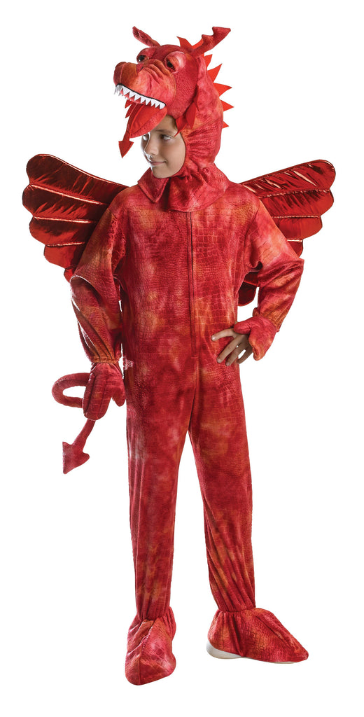 Red Dragon Costume 140cm Pack Contents : Jumpsuit With Wings, Head, Tail Male Kids To Fit Child Up To Height 140cm Colour : Red