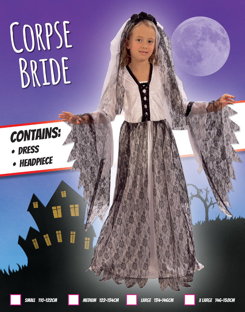 Corpse Bride (XL) Pack Contents : Dress, Headpiece Female Kids To fit child of height 146cm 159cm Colour : Black White