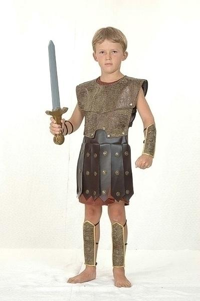 Warrior Large Childrens Fancy Dress Costume Boys Large 9 12 years Brown