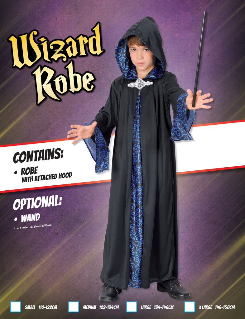 Wizard Robe (XL) Pack Contents : Robe With Hood Male Kids To fit child of height 146cm 159cm Colour : Black