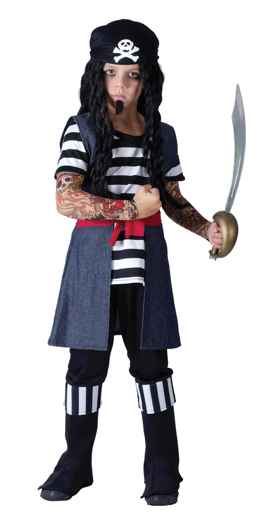 Tattoo Pirate Boy Small 5 7 years Black White Blue