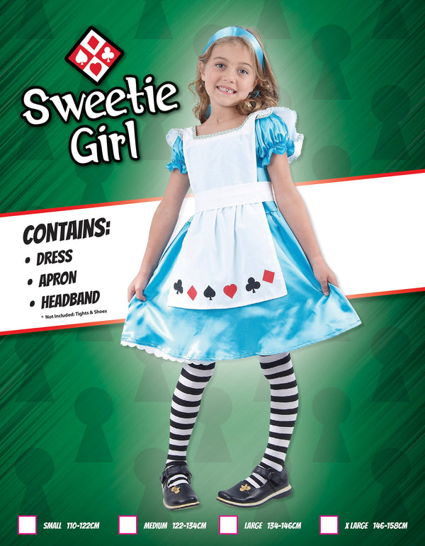 Alice (XL) Pack Contents : Dress, Headband, Apron Female Kids To fit child of height 146cm 159cm Colour : Blue White