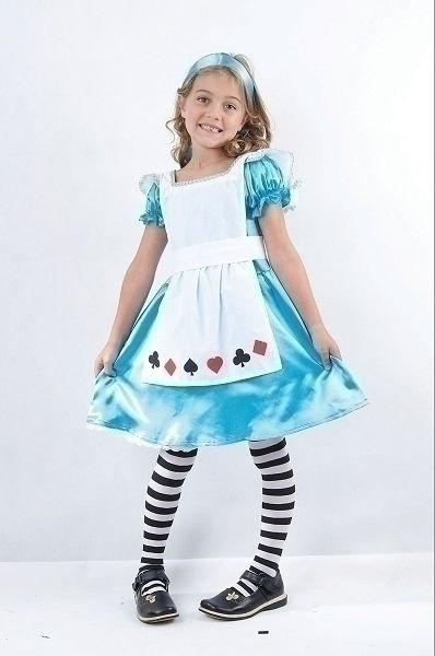 Alice in Wonderland Medium Childrens Fancy Dress Costume Girls Medium 7 9 years Blue White