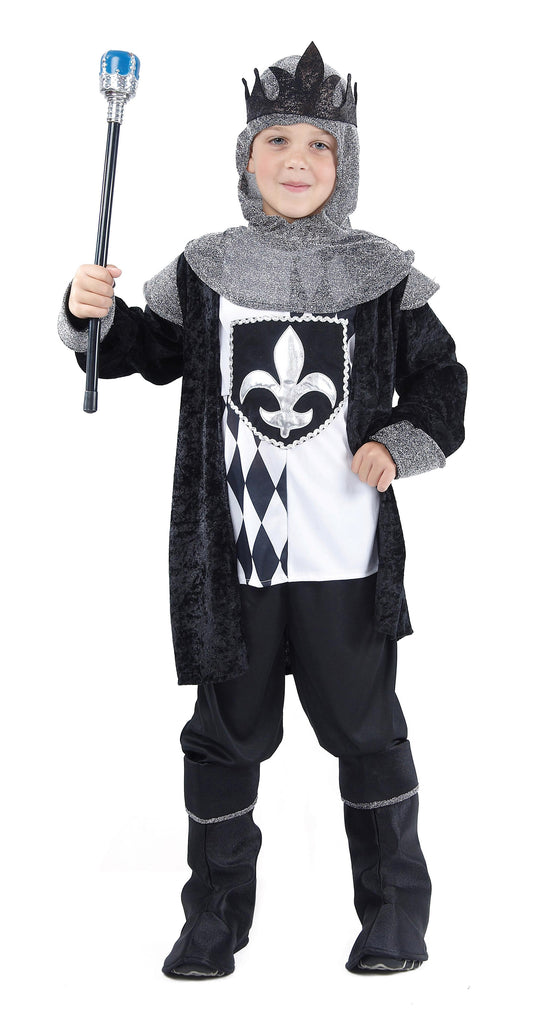 Chess King Medium Childrens Fancy Dress Costume Boys Medium 7 9 years Black White Grey