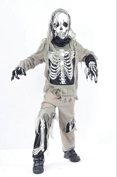 Skeleton Zombie Medium 7 9 years Grey Black White