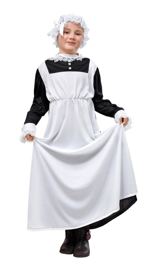 Victorian Maid 134cm Childrens Fancy Dress Costume Girls 134cm Black White